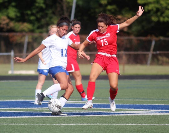 Scott senior Sophee Gregory is guarded closely by Beechwood junior Emme Middendorf as Beechwood plays Scott in girls Soccerama scrimmage Aug. 10, 2018 at Tower Park, Fort Thomas.