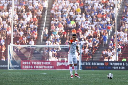 FC Cincinnati's Emmanuel Ledesma prepares a shot toward goal during the club's match vs. Penn FC at Nippert Stadium on Sunday.