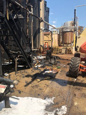 Two people were transported from the scene of an Estes Ave. tank fire Sunday afternoon, officials said.