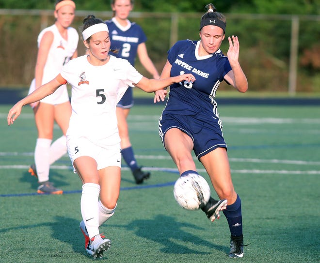 NDA's  Haley Clark (18)  battles Anderson's Kristin Sweeney for the ball during Soccerama at Tower Park, Saturday, Aug. 11,2018.