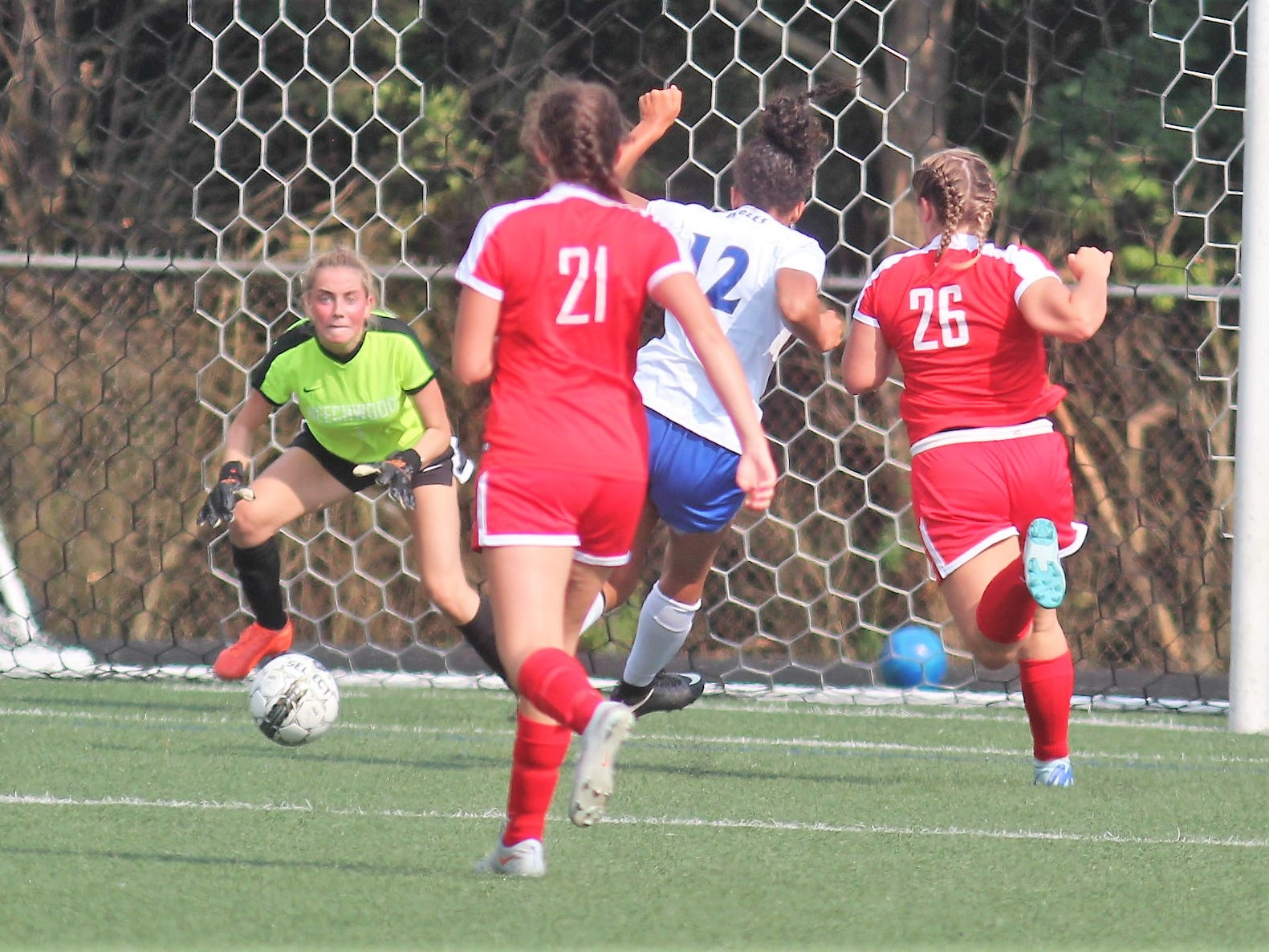 Scott senior Sophee Gregory takes a shot on goal as Beechwood plays Scott in girls Soccerama scrimmage Aug. 10, 2018 at Tower Park, Fort Thomas.