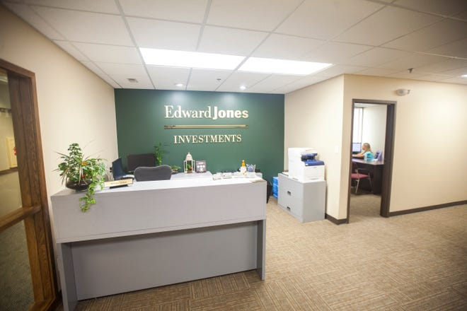 A reception area at an Edward Jones branch office in Cedar Rapids.