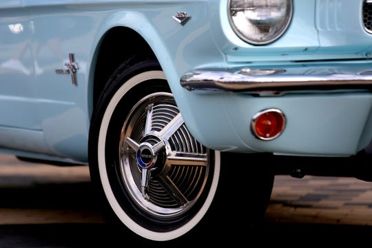 The rims on a 1964 Ford Mustang.