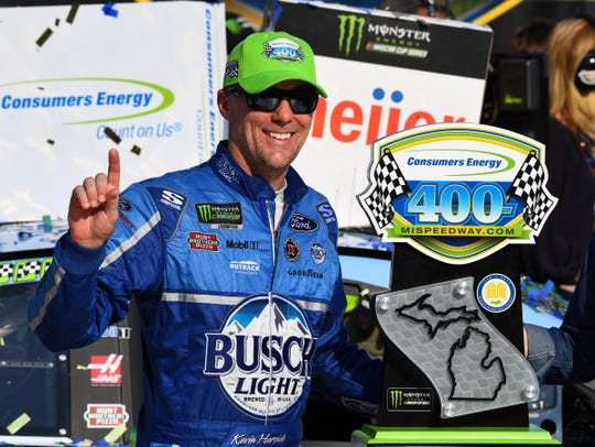 Kevin Harvick reacts after winning the Consumers Energy 400 at Michigan International Speedway.