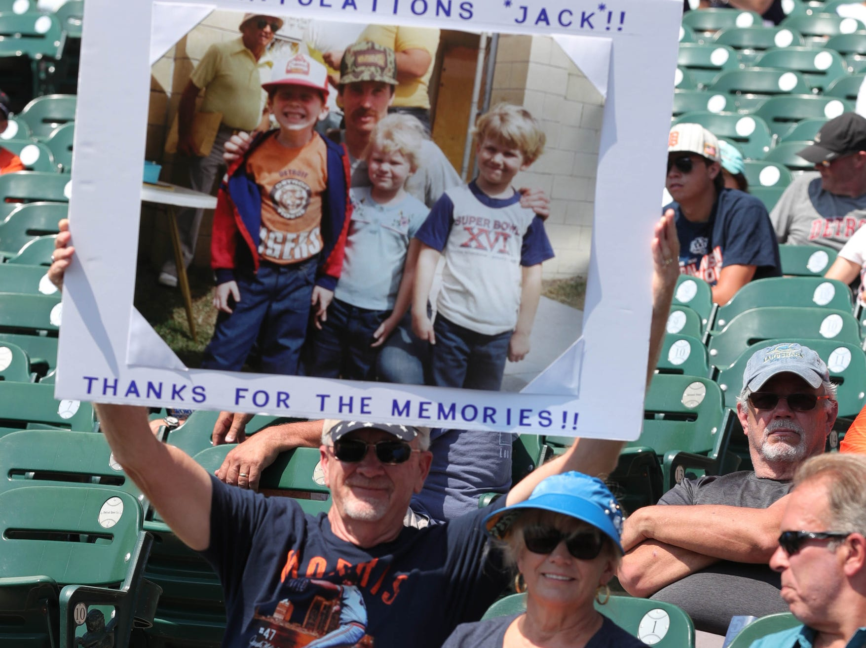 A fan holds a sign for Detroit Tigers Hall of Fame pitcher Jack Morris before the start of the Tigers game against Minnesota on Sunday, August 12, 2018, at Comerica Park in Detroit.