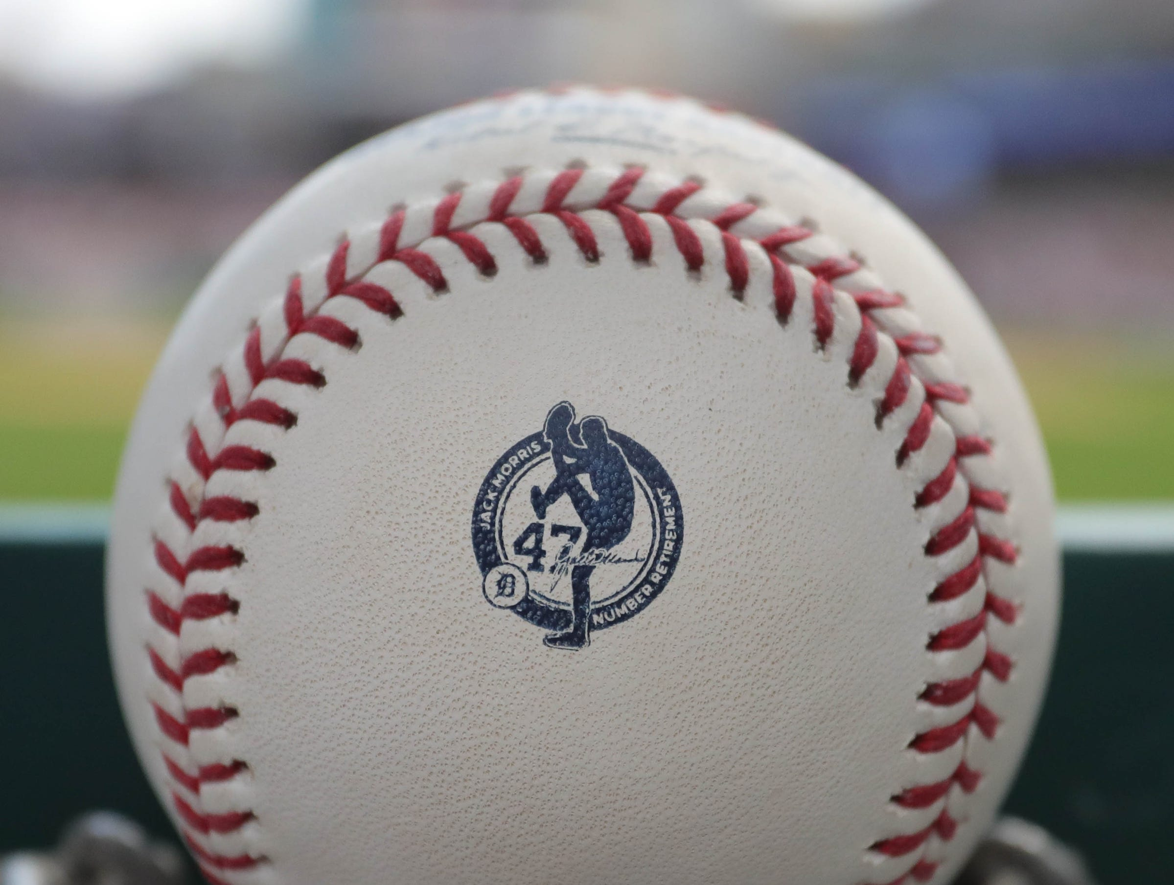 A game ball shows a logo representing Detroit Tiger Hall of Fame pitcher Jack Morris on Sunday, August 12, 2018, at Comerica Park in Detroit.
