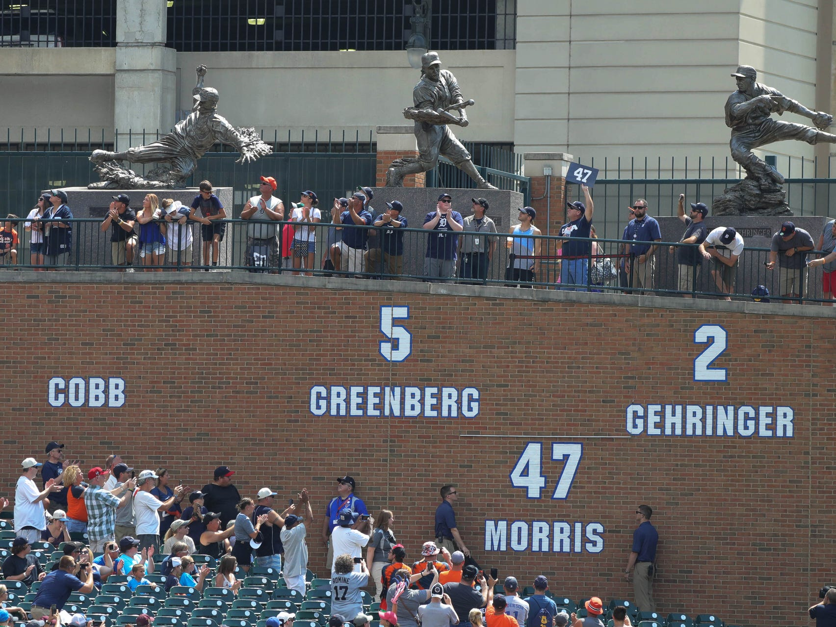 Detroit Tigers Hall of Fame pitcher Jack Morris' number was retired during a ceremony before the start of the Tigers game against Minnesota on Sunday, August 12, 2018, at Comerica Park in Detroit.