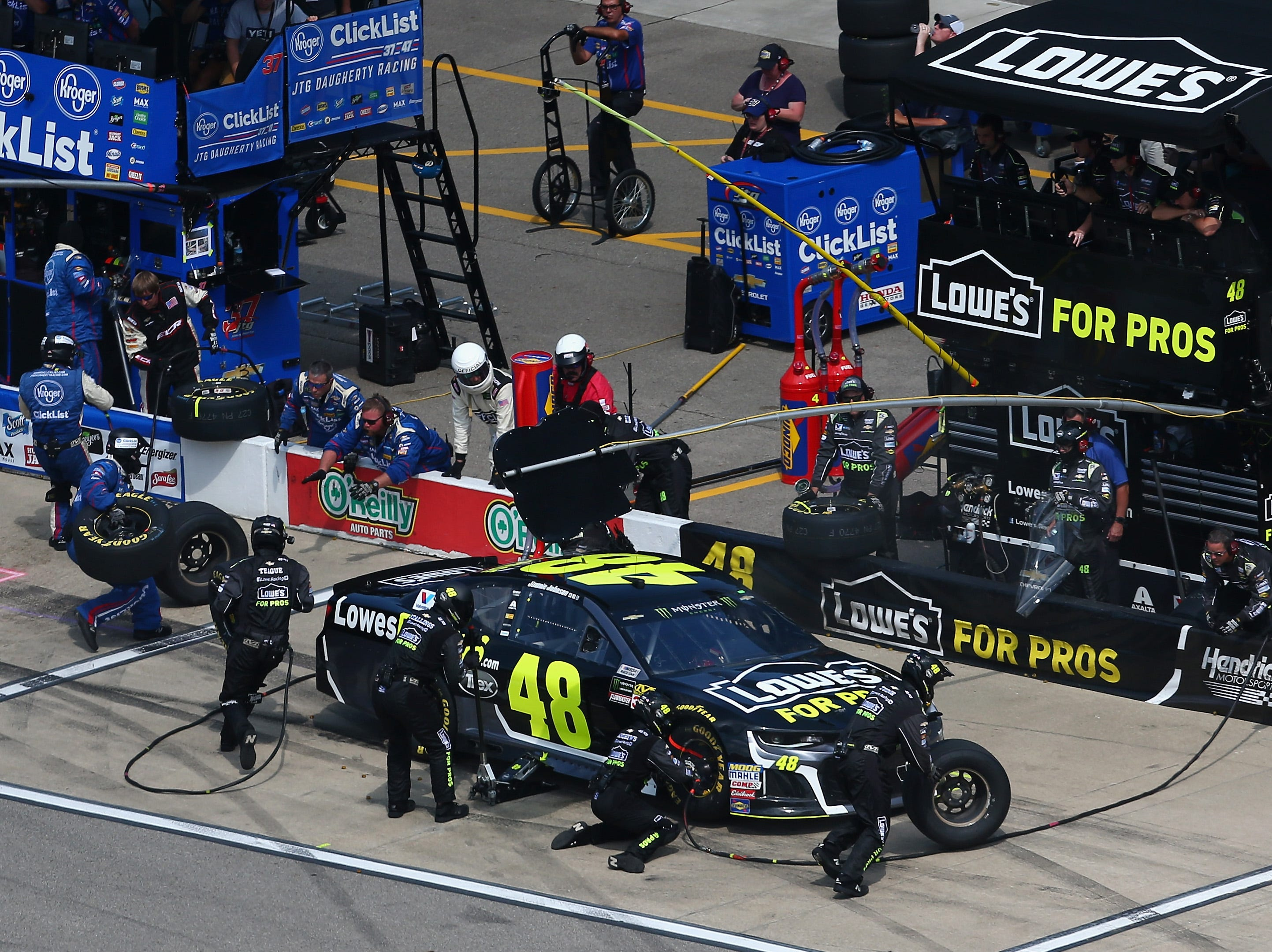 Jimmie Johnson, driver of the No. 48 Lowe's for Pros Chevrolet, pits during the Monster Energy NASCAR Cup Series Consmers Energy 400 at Michigan International Speedway on August 12, 2018 in Brooklyn, Michigan.