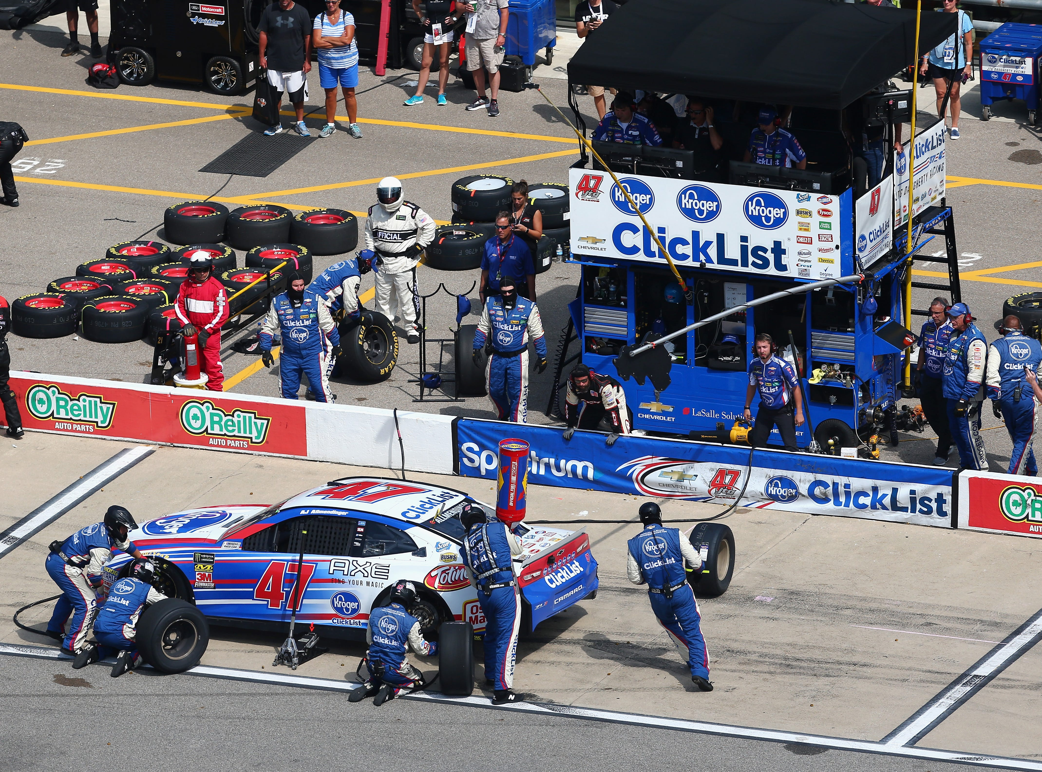 AJ Allmendinger, driver of the No. 47 Kroger ClickList Chevrolet, pits during the Monster Energy NASCAR Cup Series Consmers Energy 400 at Michigan International Speedway on August 12, 2018 in Brooklyn, Michigan.