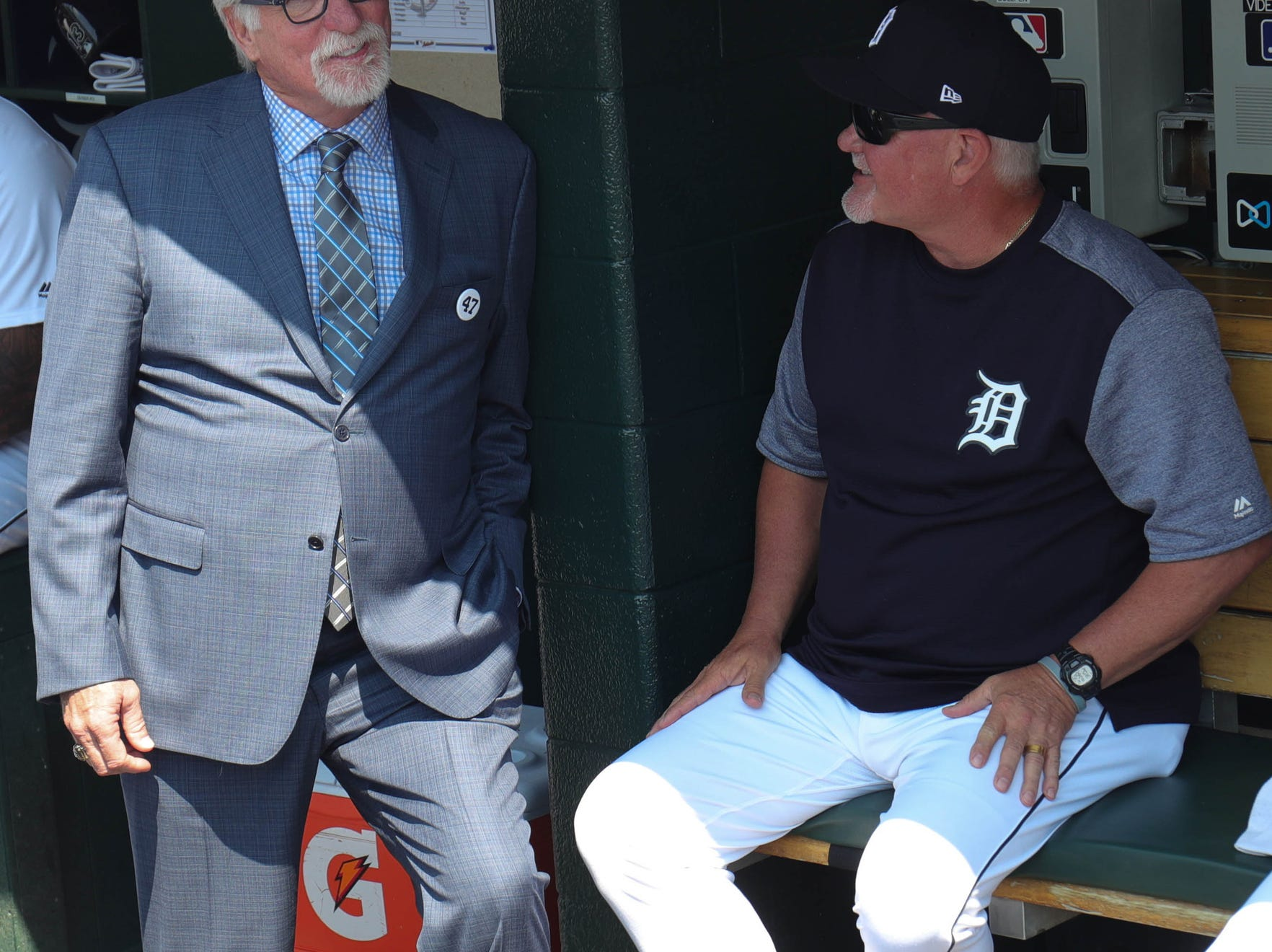 Detroit Tigers Hall of Fame pitcher Jack Morris and manager Ron Gardenhire speak in the dugout before a ceremony in Morris' honor before the start of the Tigers game against Minnesota Sunday, August 12, 2018, at Comerica Park in Detroit.