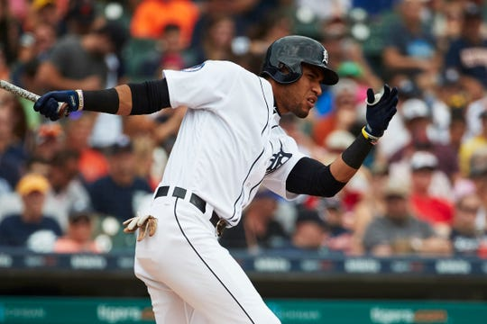 Tigers right fielder Victor Reyes hits a single in the fifth inning on Sunday, Aug. 12, 2018, at Comerica Park.