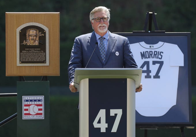Detroit Tigers Hall of Fame pitcher Jack Morris speaks to fans during a ceremony in his honor before the start of the Tigers game against Minnesota on Sunday, August 12, 2018, at Comerica Park in Detroit.