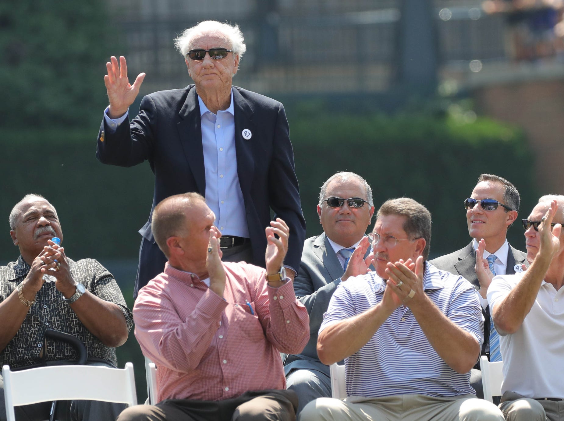 Detroit Tigers Hall of Famer Al Kaline stands on stage during a ceremony honoring Jack Morris before the start of the Tigers game against Minnesota on Sunday, August 12, 2018, at Comerica Park in Detroit.