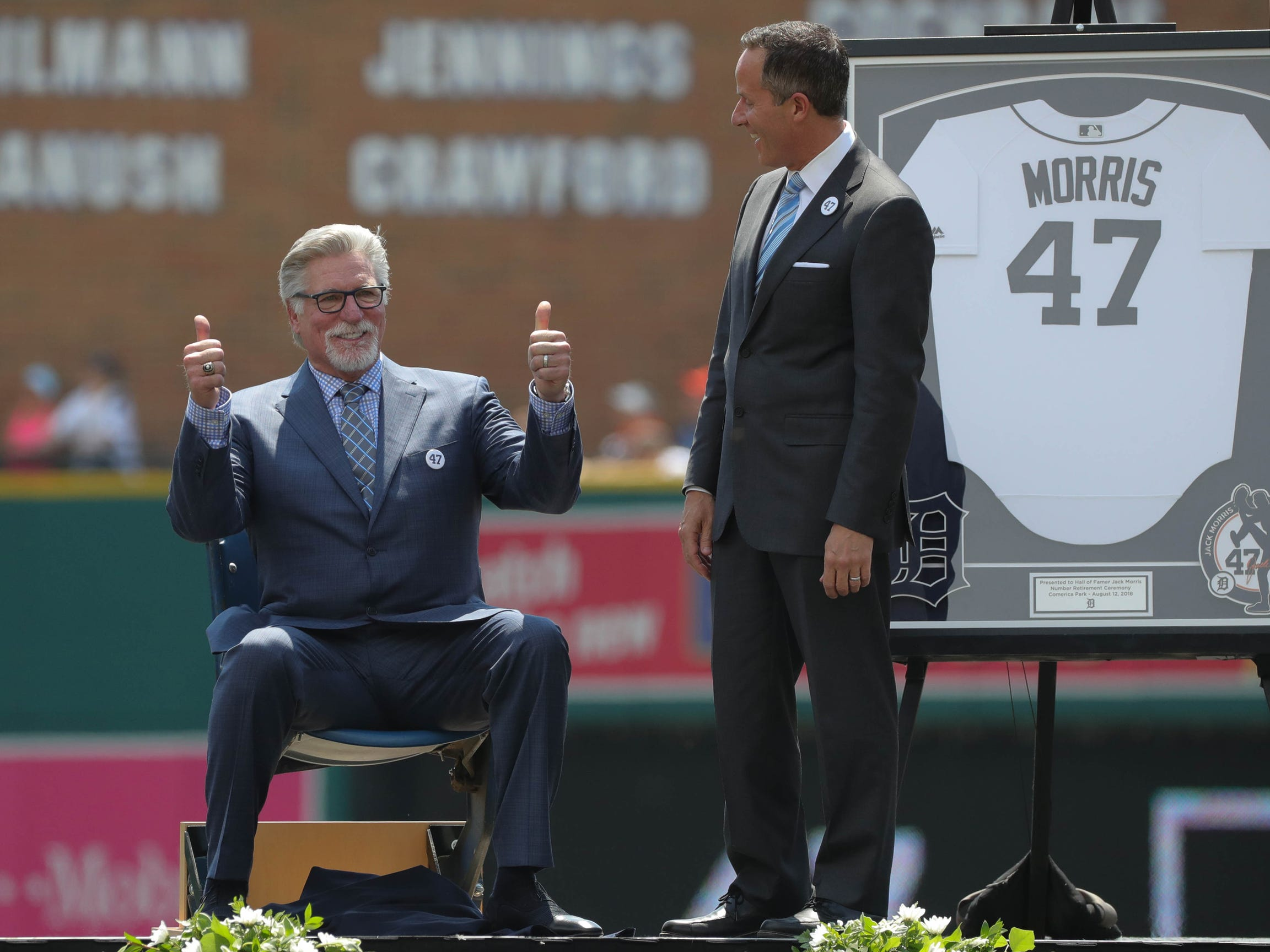 Detroit Tigers Hall of Fame pitcher Jack Morris sits in seat no. 47 from the old Tiger Stadium by team owner Chris Illitch before the start of the Tigers game against Minnesota on Sunday, August 12, 2018, at Comerica Park in Detroit.