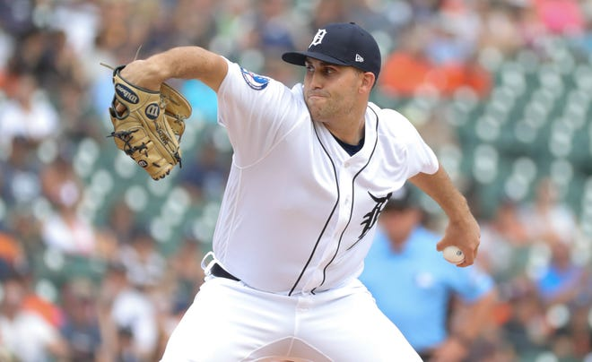 Detroit Tigers Matthew Boyd pitches against the Minnesota Twins on Sunday, August 12, 2018, at Comerica Park in Detroit.