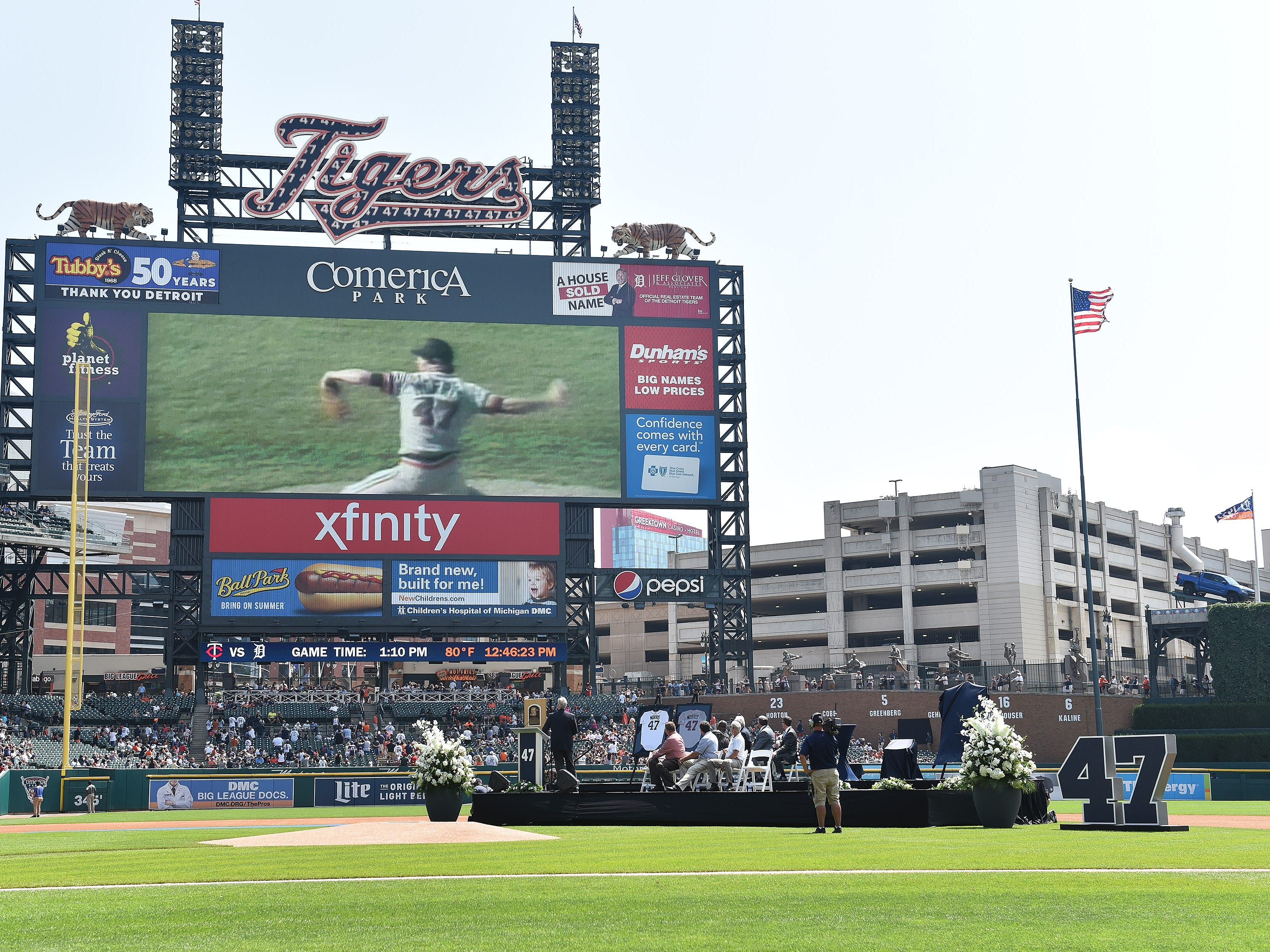 A video about Jack Morris plays on the scoreboard during the special pregame ceremony.