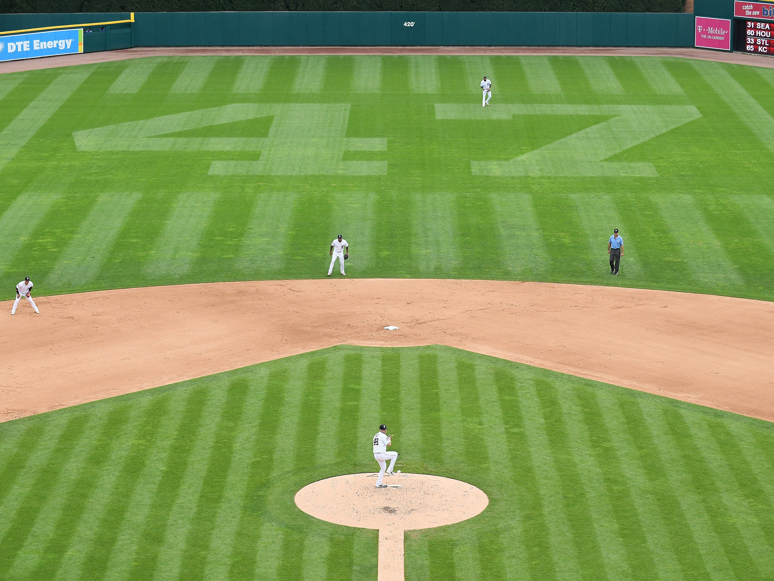 The number 47 cut into the outfield grass seen in the fifth inning while Tigers' Matthew Boyd pitches.