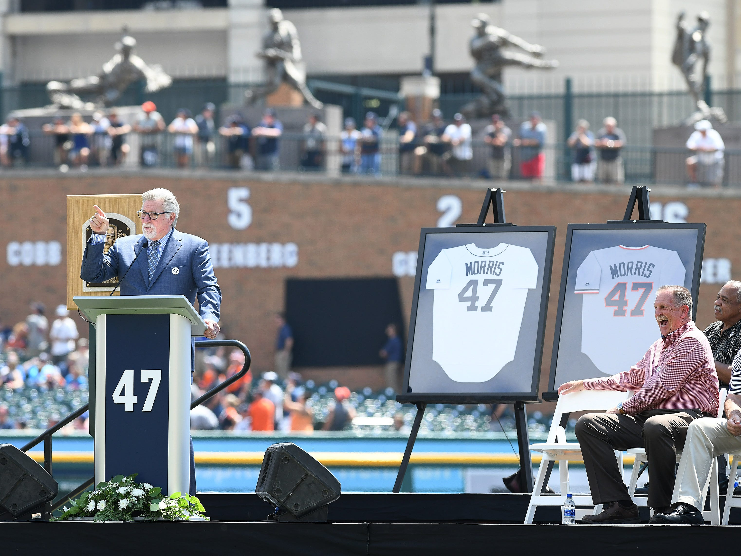 Tigers pitcher and Hall of Fame pitcher Jack Morris speaks during the special pregame ceremony to retire the his #47.