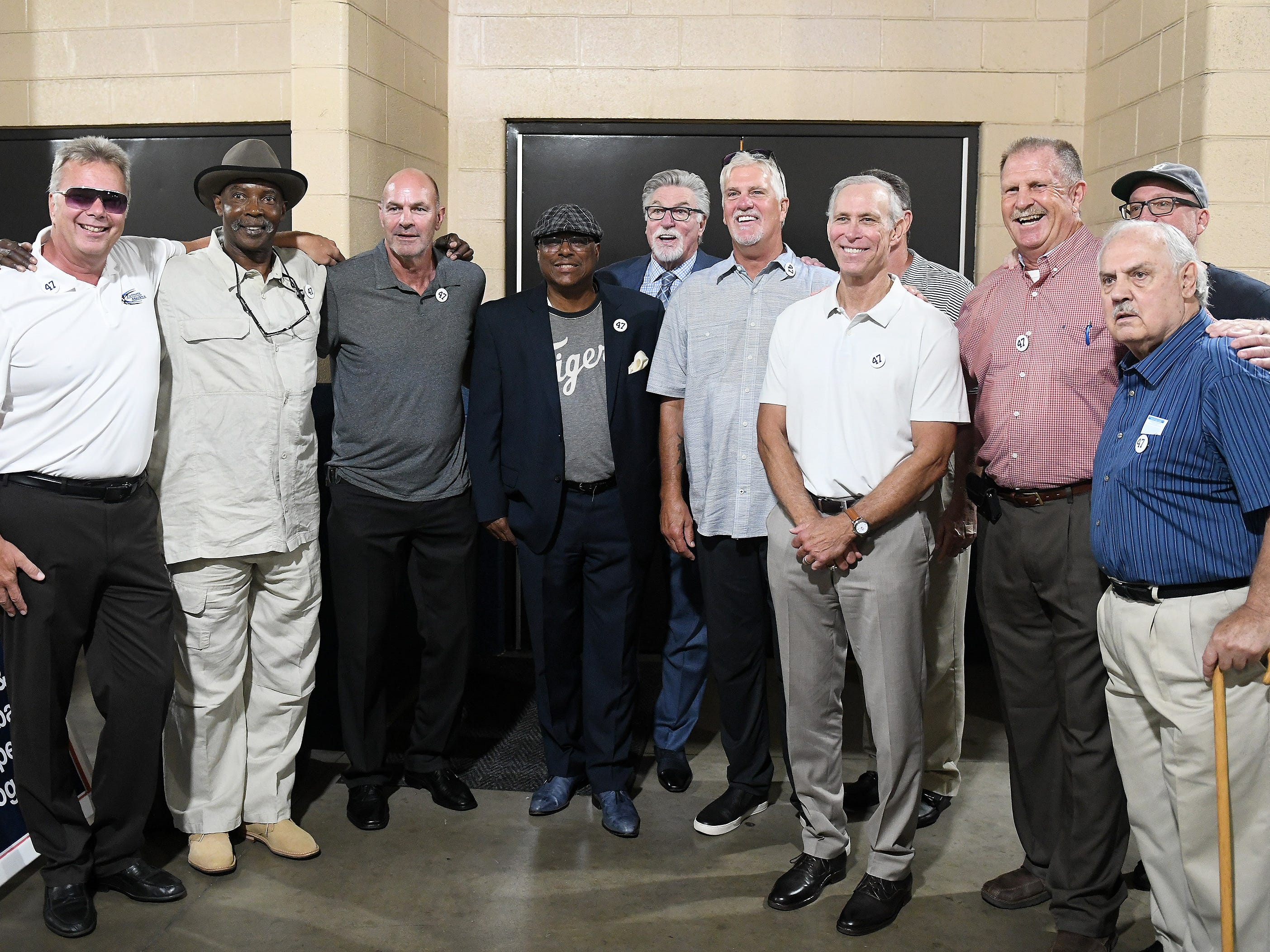 Members of the 1984 Tigers World Champion team gather before the special pregame ceremony to retire the #47 of Tigers pitcher and Hall of Fame pitcher Jack Morris.