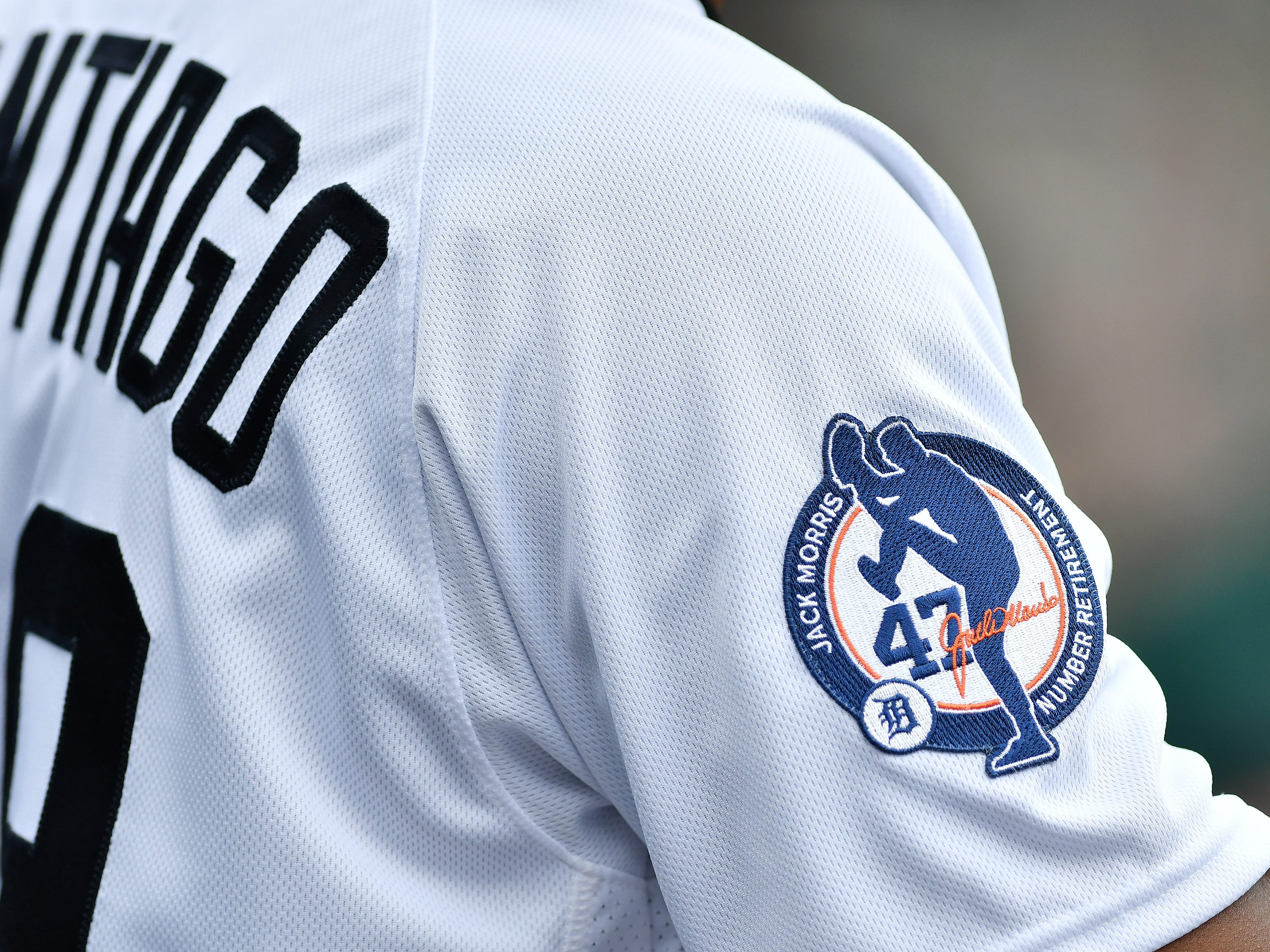 A special patch on the Tigers uniforms to honor Jack Morris.