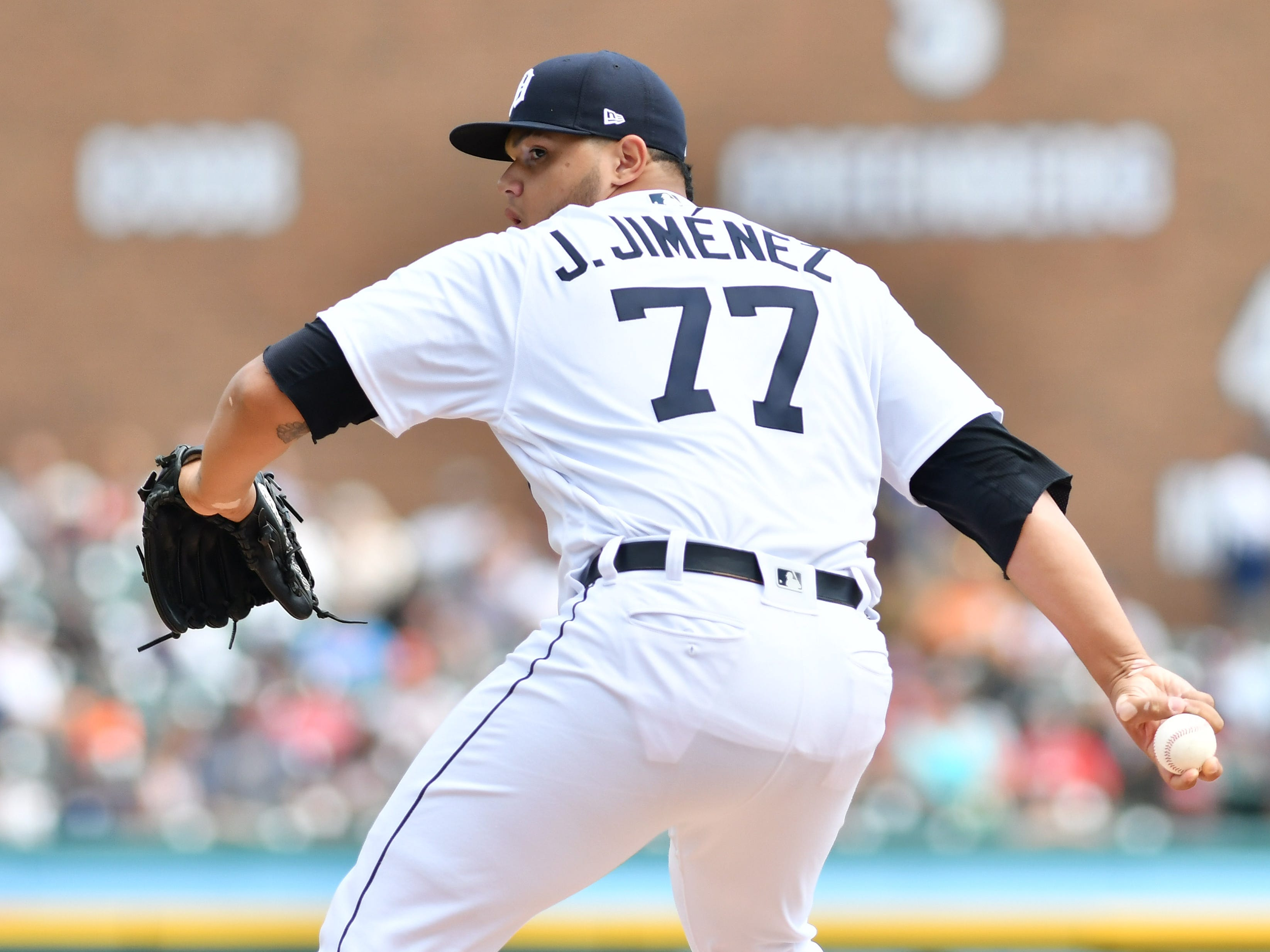 Tigers pitcher Joe Jimenez works in the eighth inning.