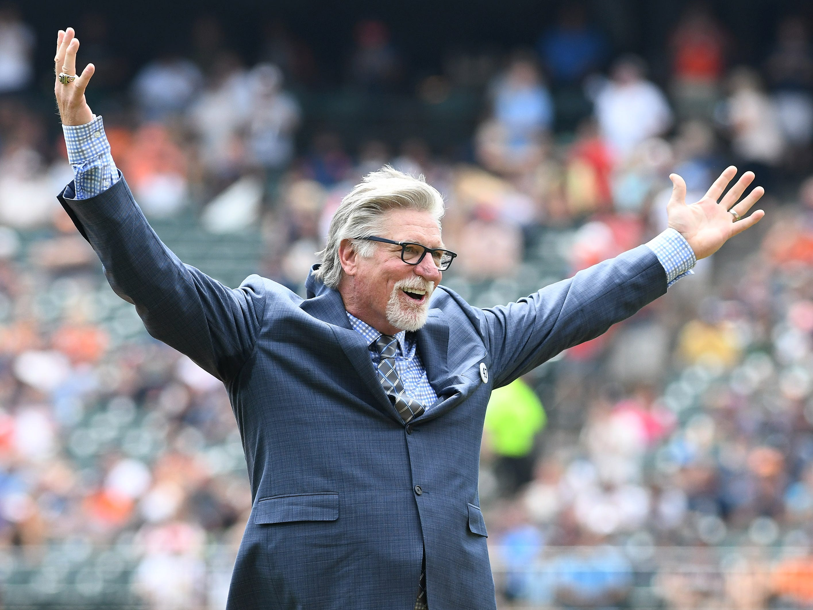 Jack Morris after he throws out the ceremonial first pitch before the game.