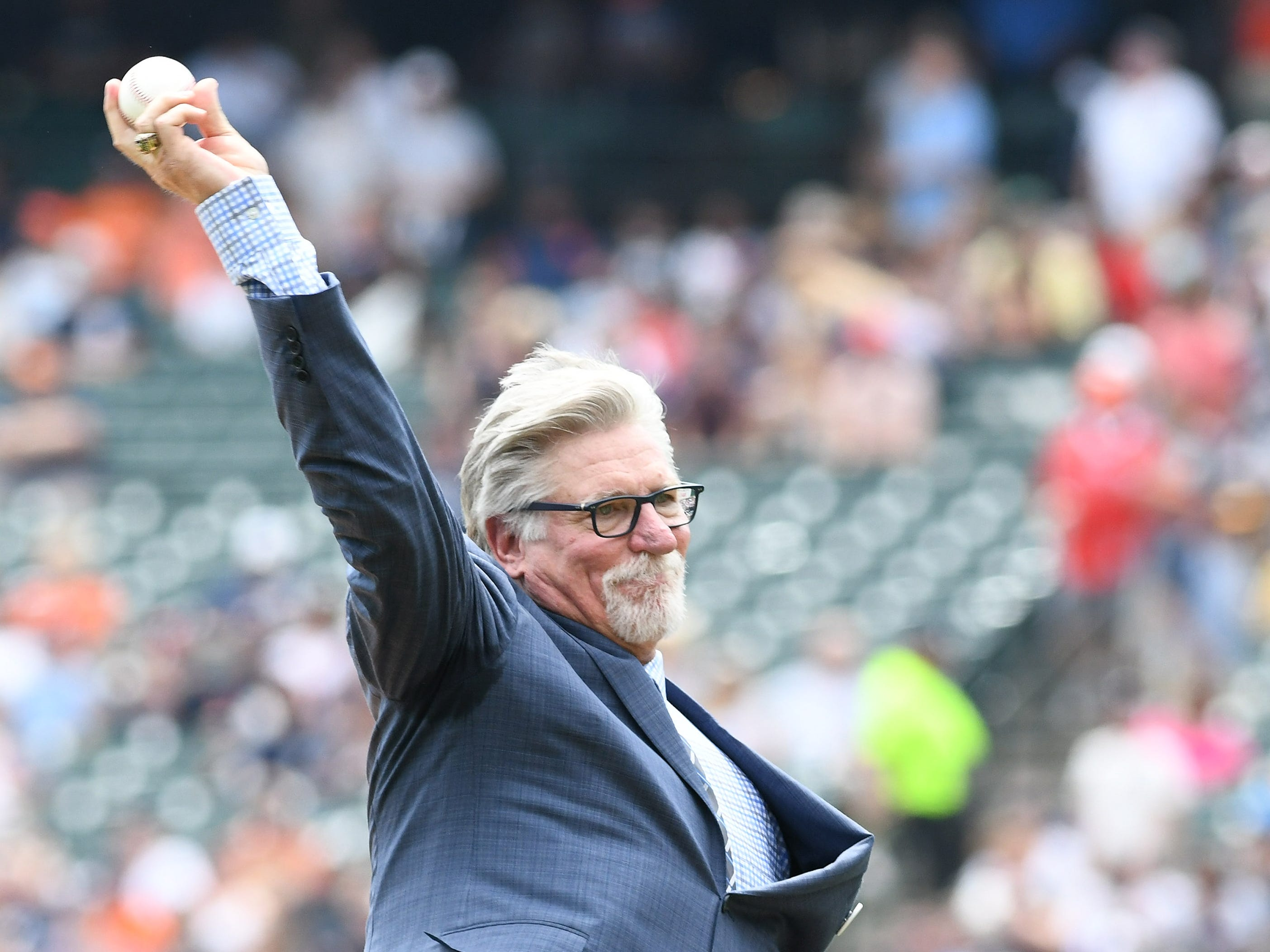 Former Tigers pitcher and Hall of Famer Jack Morris throws out the ceremonial first pitch before the game.