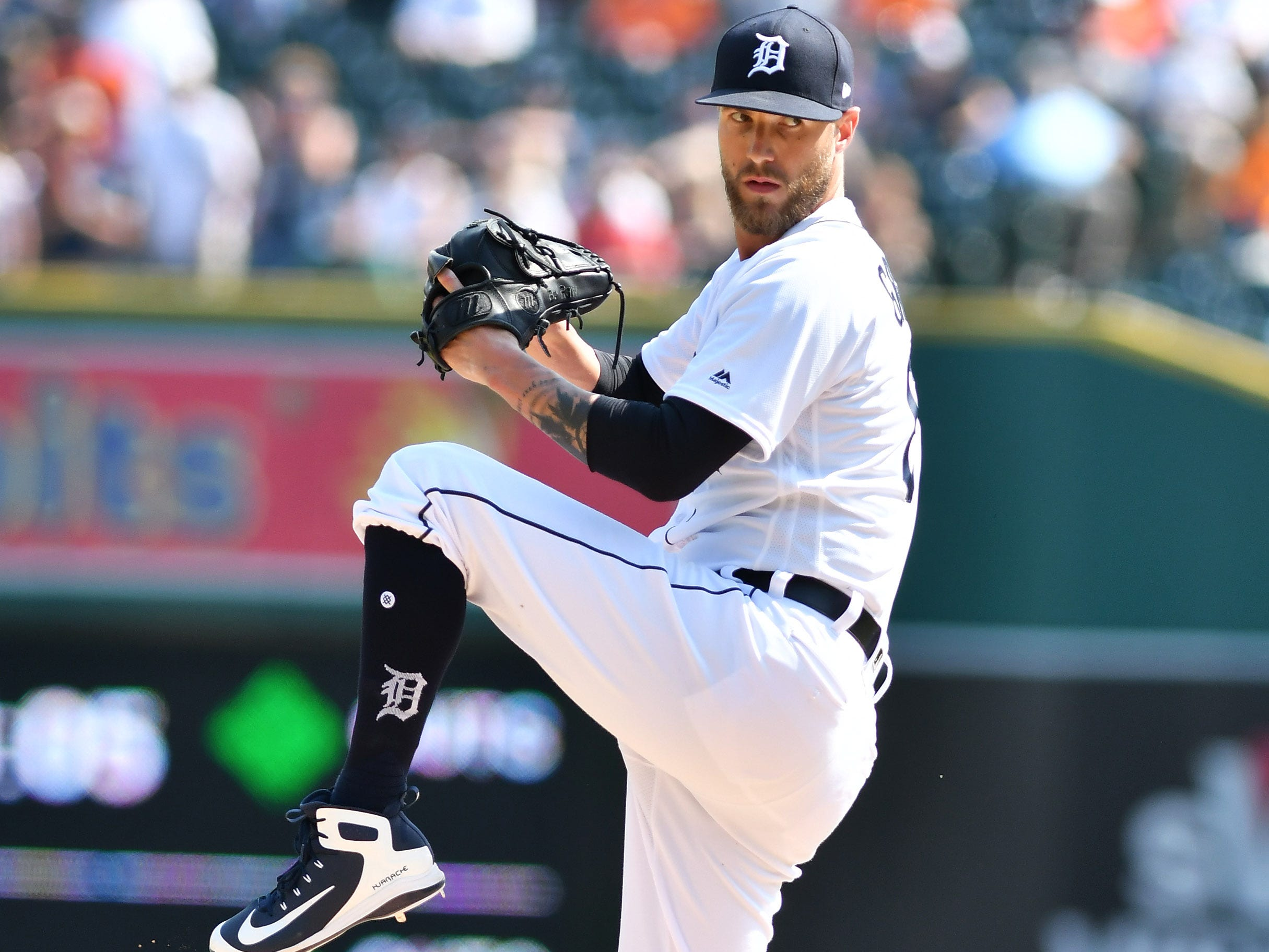 Tigers pitcher Shane Greene works in the ninth inning.