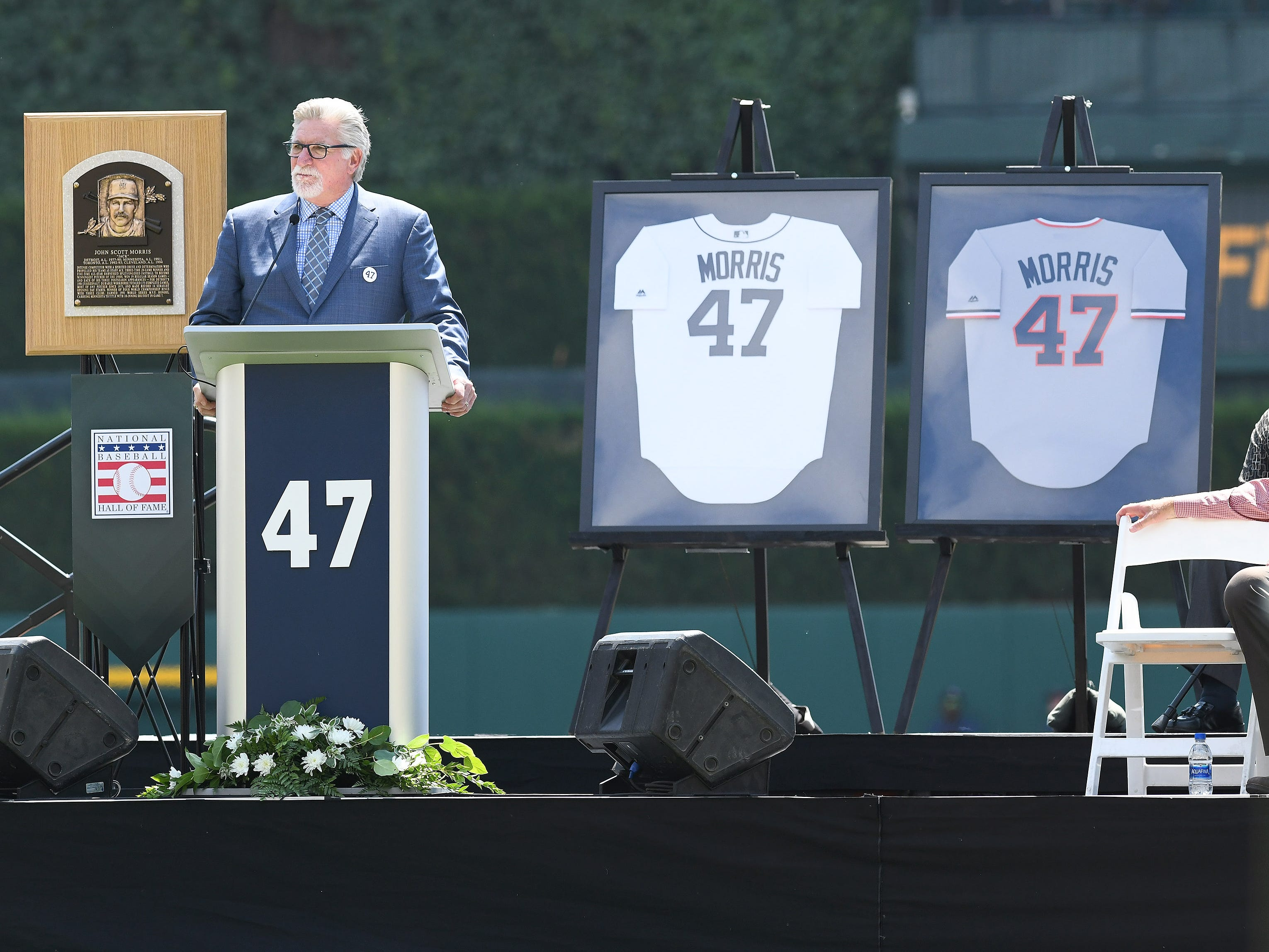 Jack Morris talks about his experience during the special pregame ceremony to retire the #47 of Tigers pitcher and Hall of Fame pitcher Jack Morris. Detroit Tigers vs Minnesota Twins at Comerica Park in Detroit on Aug. 12, 2018.