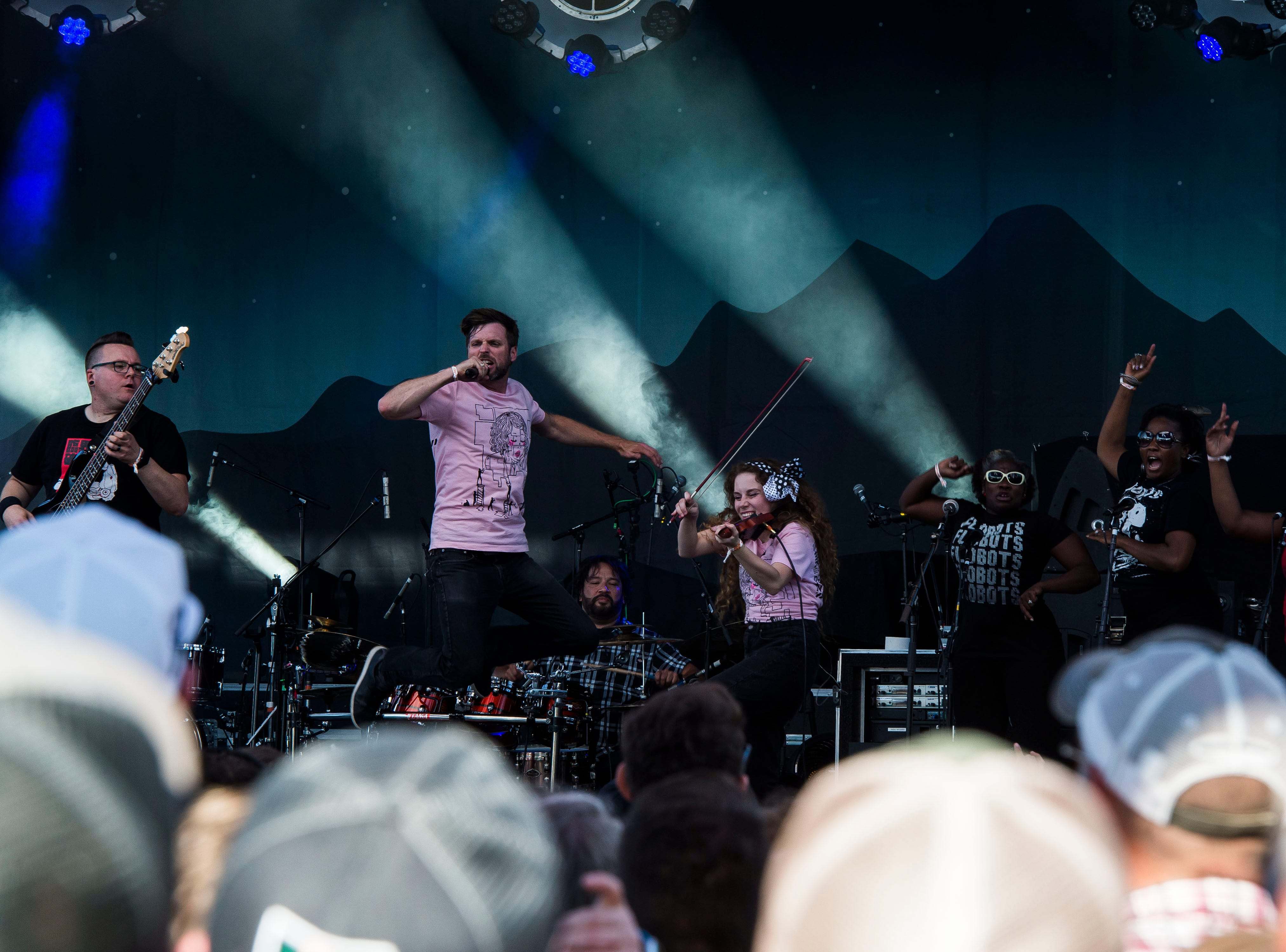 The Flobots play the Mountain Avenue stage during the second day of Bohemian Nights at NewWestFest on Saturday, Aug. 11, 2018, in Old Town Fort Collins, Colo.