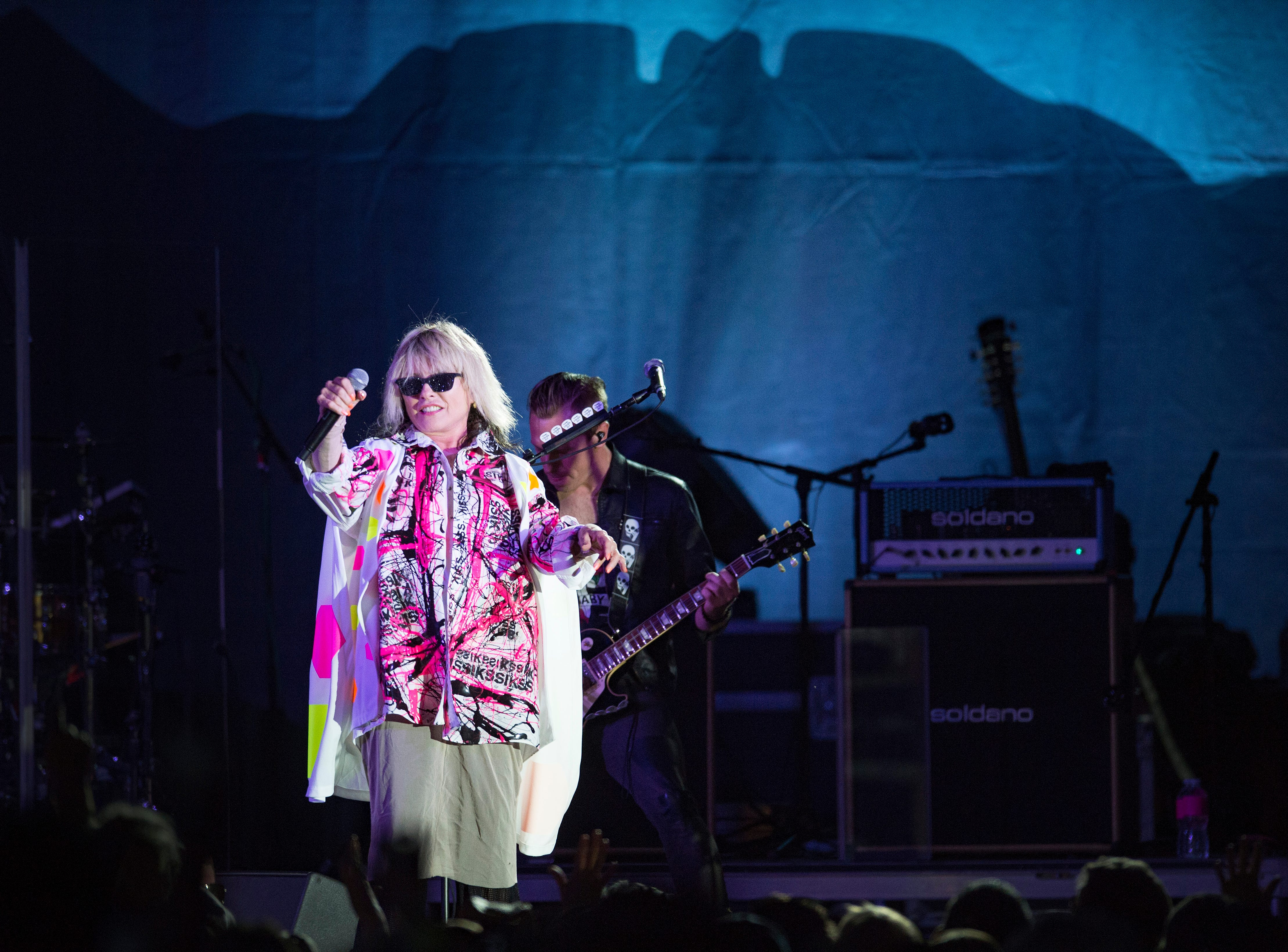 Debbie Harry performs with Blondie to a packed crowd on the Mountain Avenue Stage during Bohemian Nights at NewWestFest on Saturday, August 11, 2018.