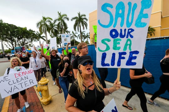 """Hundreds of people protesting Florida's water quality turned out for the """"Death March"""" for clean water. They paraded through downtown Fort Myers protesting red tide and toxic algae and also reminded people to get out and vote."""