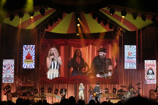 It was a big top-themed stage production to open Sugarland's show before a crowd of about 6,000 at the Resch Center.