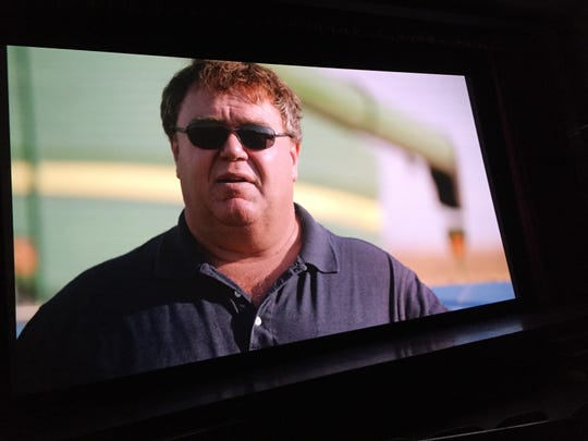 State Sen. Llew Jones, R-Conrad, is among a multitude of Montanans featured in the 'Dark Money' documentary. Photo taken from theater screen Saturday.