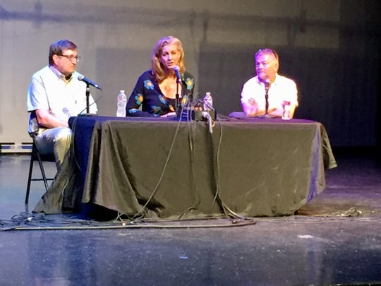 A panel discussion followed Saturday's showing of 'Dark Money.' From left, reporter Charles S. Johnson, director Kimberly Reed and Edwin Bender of the National Institute on Money in Politics.