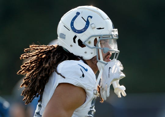 Indianapolis Colts wide receiver Krishawn Hogan (81) during their preseason training camp at Grand Park in Westfield on Sunday, August 12, 2018.