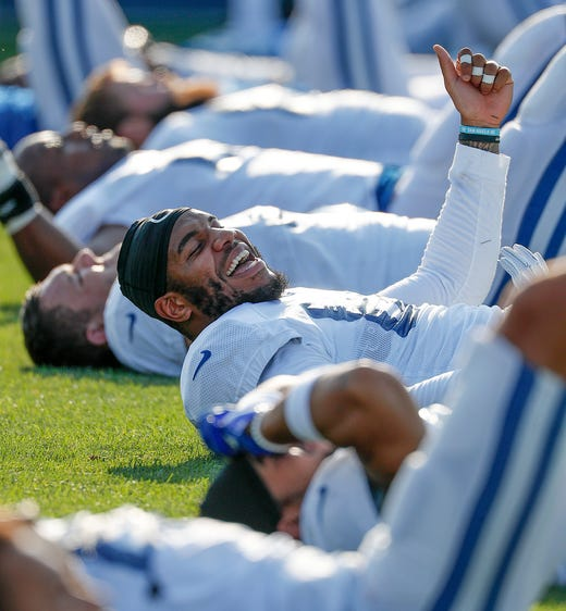 Indianapolis Colts tight end Eric Ebron (85) share a laugh with his teammates during their preseason training camp at Grand Park in Westfield on Sunday, August 12, 2018.