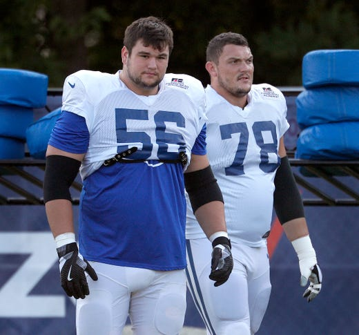 Indianapolis Colts offensive guard Quenton Nelson (56) and Ryan Kelly (78)  during their preseason training camp at Grand Park in Westfield on Sunday, August 12, 2018.