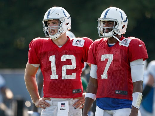 Indianapolis Colts quarterback Andrew Luck (12) and quarterback Jacoby Brissett (7)  during their preseason training camp at Grand Park in Westfield on Sunday, August 12, 2018.
