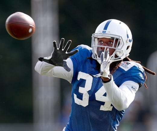 Indianapolis Colts defensive back Robert Jackson (34) during their preseason training camp at Grand Park in Westfield on Sunday, August 12, 2018.