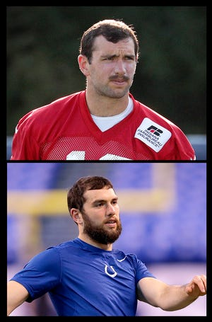 Indianapolis Colts quarterback Andrew Luck (12) sports a new mustache during training camp at Grand Park in Westfield on Sunday, August 12, 2018. Below is Luck's standard camp beard.