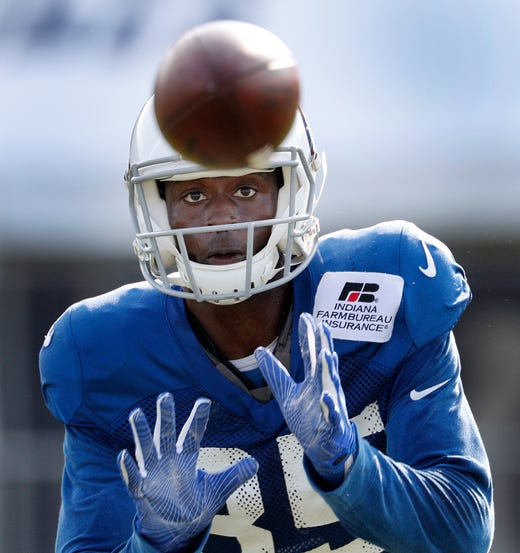 Indianapolis Colts defensive back Pierre Desir (35) during their preseason training camp at Grand Park in Westfield on Sunday, August 12, 2018.