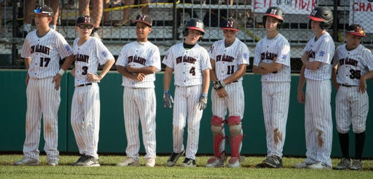 The Indiana squad from New Albany, after their 0-13 loss to Michigan, regional final, Grand Park, Westfield, Saturday, Aug. 11, 2018. The Grosse Pointe squad will represent the Great Lakes region in the upcoming Little League World Series.