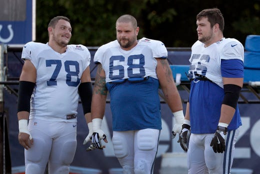 Indianapolis Colts offensive guard Matt Slauson (68),middle, Ryan Kelly (78) and guard Quenton Nelson (56) during their preseason training camp at Grand Park in Westfield on Sunday, August 12, 2018.