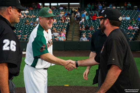 Jeff Isom is in his fifth season as manager of the Joliet Slammers in the Frontier League.