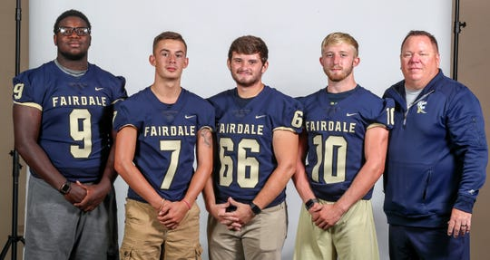 Fairdale LEFT TO RIGHT: Ja'cobi Dixon, senior, tight end/defensive end, Trey McCoy, junior, quarterback, Ian Bache, senior, offensive line/defensive line, Tyler Norton, senior, linebacker, Louis Dover, head coach.