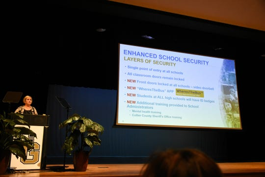 School superintendent Kamela Patton addresses school administrators about safety on Tuesday at Golden Gate High School. Collier County public schools are introducing new security measures as the school year begins.