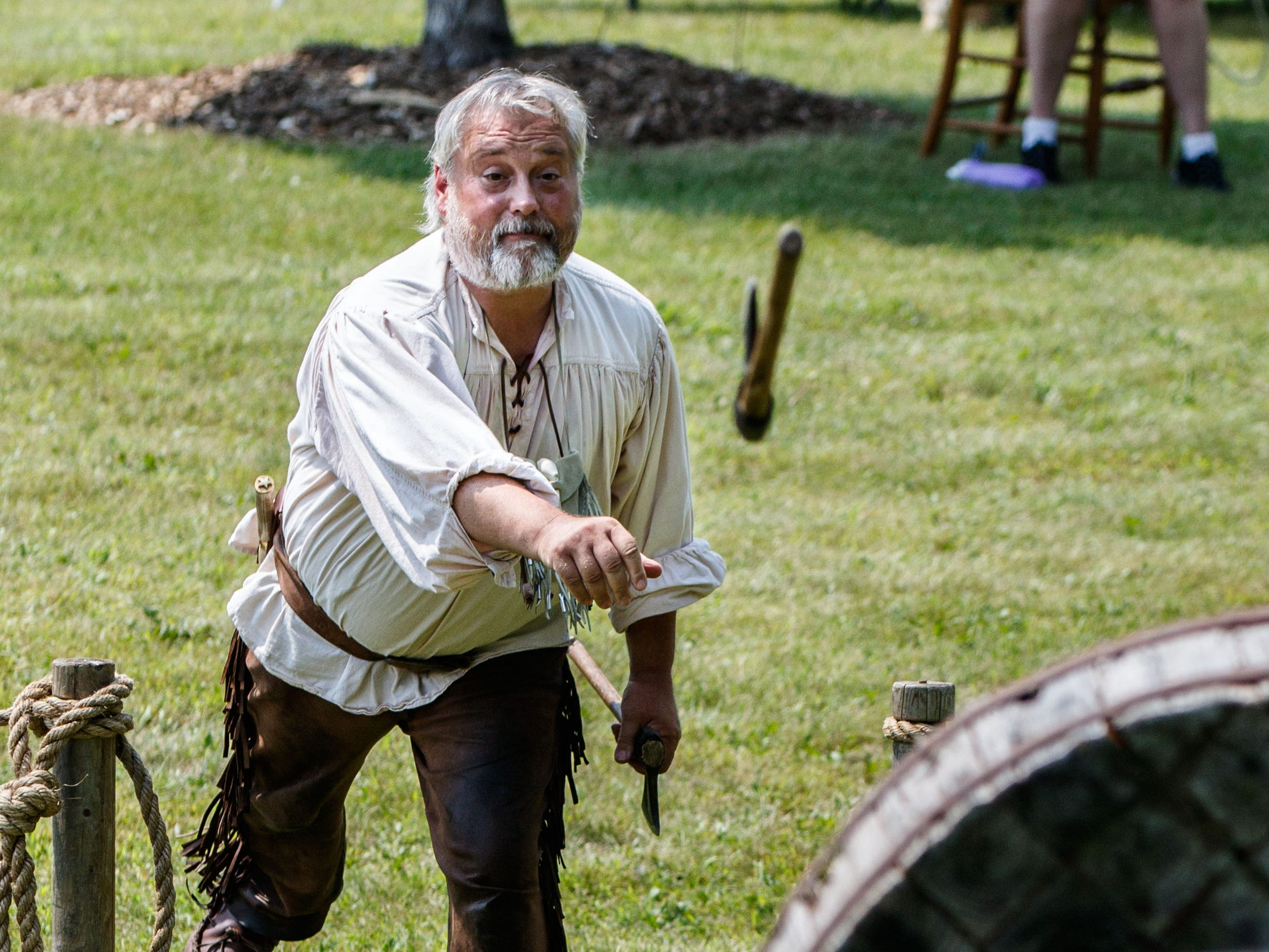Dan Strieter of Nashotah demonstrates the art of tomahawk throwing during the Heritage Weekend living history event in Lisbon Community Park on Saturday, August 11, 2018.