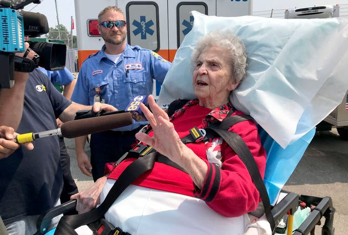 Catherine Krause talks about her favorite memories of the Wisconsin State Fair after the 100-year-old woman arrived at the fair Sunday afternoon by Bell Ambulance. Krause has gone every year to the fair for eight decades but this year figured she couldn't make it because she injured her ankle. Instead, Bell Ambulance paramedics picked her up and brought her to the fair.