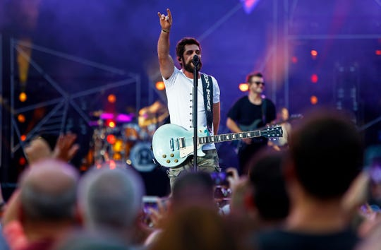 Thomas Rhett performs during a concert at Nissan Stadium Saturday, Aug. 11, 2018 in Nashville, Tenn.